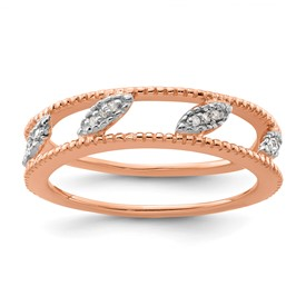 Stackable Expressions Sterling Silver Rose Gold-plated Diamond Jacket Ring