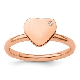 Stackable Expressions Sterling Silver Rose Gold-plated Heart Diamond Ring