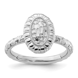 Stackable Expressions Sterling Silver Rhodium-plated Oval Ring