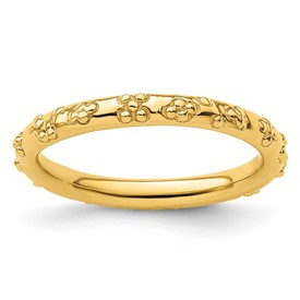 Sterling Silver Stackable Expressions Gold-plated Textured Ring