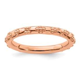 Sterling Silver Stackable Expressions Pink-plated Textured Ring