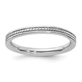 Sterling Silver Stackable Expressions Rhodium Channeled Ring
