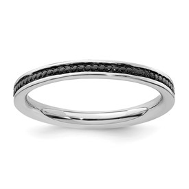 Sterling Silver Stackable Expressions Black-plated Channeled Ring