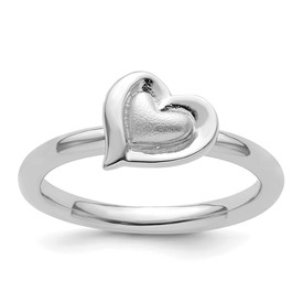 Sterling Silver Stackable Expressions Rhodium Heart Ring