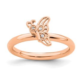 Sterling Silver Stackable Expressions Pink-plated Butterfly with Diamond Ring