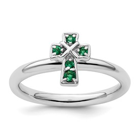 Sterling Silver Stackable Expressions Rhodium Created Emerald Cross Ring