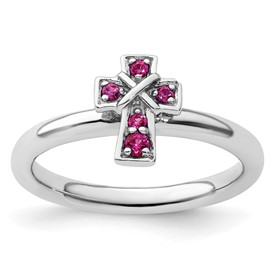 Sterling Silver Stackable Expressions Rhodium Created Ruby Cross Ring