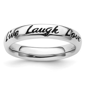 Sterling Silver Stackable Expressions Enamel Live Laugh Love Ring