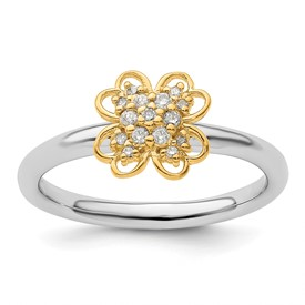 Sterling Silver and Gold Plated Stackable Expressions Dia. Flower Ring