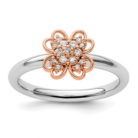Sterling Silver and Rose Plated Stackable Expression Dia. Flower Ring