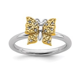 Sterling Silver and Gold Plated Stackable Expression Dia. Butterfly Ring