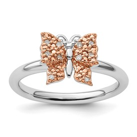 Sterling Silver and Rose Plated Stackable Expression Dia. Butterfly Ring