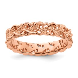 Sterling Silver Stackable Expressions Pink-plated Carved Ring