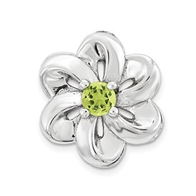 Sterling Silver Stackable Expressions Small Peridot Flower Chain Slide