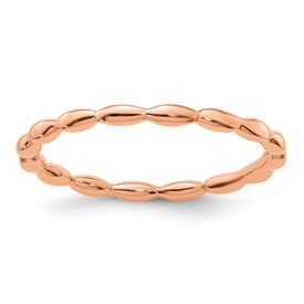 Stackable Expressions Sterling Silver Pink-plated Rice Bead Ring