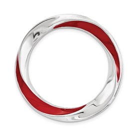 Sterling Silver Stackable Expressions Medium Red Enameled Chain Slide