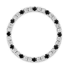 Sterling Silver Stack Exp Large Diamond and Black Sapphire Chain Slide