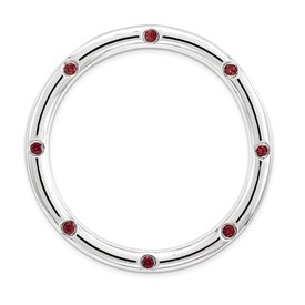 Sterling Silver Stackable Expressions Large Polished Garnet Chain Slide