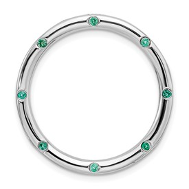 Sterling Silver Stackable Expressions Large Created Emerald Chain Slide