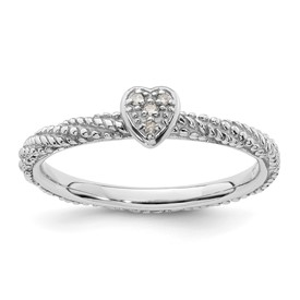 Sterling Silver Diamond Stackable Expressions Textured Heart Ring
