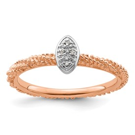 Sterling Silver Diamond Stackable Expressions Rose Gold Plated Ring