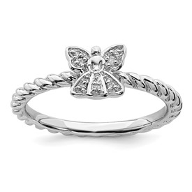 Sterling Silver Stackable Expressions Polished Diamond Angel Ring