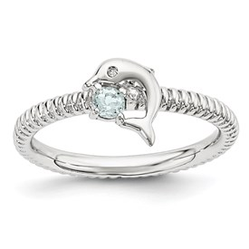 Sterling Silver Stackable Expressions Aquamarine and Diamond Dolphin Ring