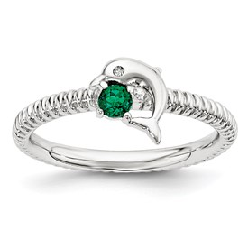 Sterling Silver Stack Exp Created Emerald and Diamond Dolphin Ring