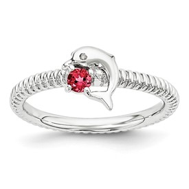 Sterling Silver Stackable Expressions Created Ruby and Diamond Dolphin Ring