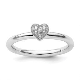 Sterling Silver Stackable Expressions Polished Diamond Heart Ring