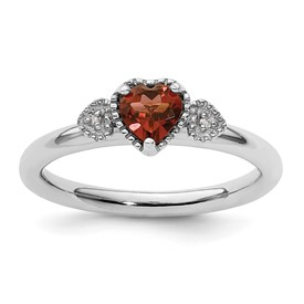 Sterling Silver Stackable Expressions Garnet and Diamond Hearts Ring