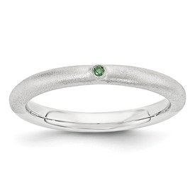Sterling Silver Stackable Expressions with Green Diamond Ring