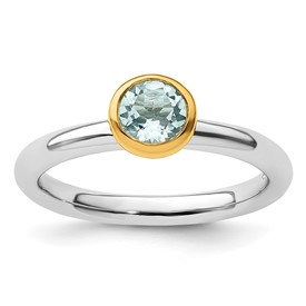 Sterling Silver Stackable Expressions with Gold-plate Aquamarine Ring