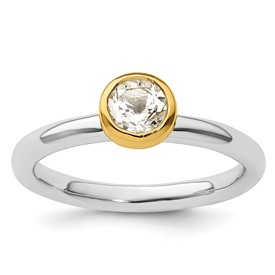Sterling Silver Stackable Expressions with Gold-plated White Topaz Ring