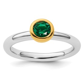 Sterling Silver Stackable Expressions with Gold-plate Cr. Emerald Ring