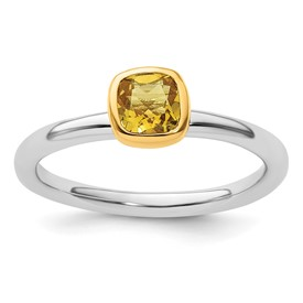 fe60392df3734 Sterling Silver Stackable Expressions with Gold-plated Citrine Ring ...