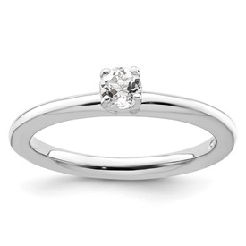 Sterling Silver Stackable Expressions Rhodium White Topaz Ring