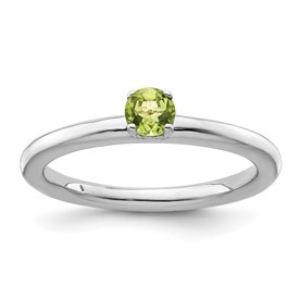 Sterling Silver Stackable Expressions Rhodium Peridot Ring