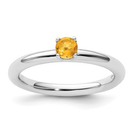 Sterling Silver Stackable Expressions Rhodium Citrine Ring