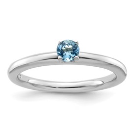 Sterling Silver Stackable Expressions Rhodium Blue Topaz Ring