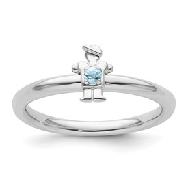 Sterling Silver Stackable Expressions Rhodium Aquamarine Boy Ring