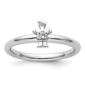 Sterling Silver Stackable Expressions Rhodium White Topaz Boy Ring