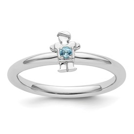Sterling Silver Stackable Expressions Rhodium Blue Topaz Boy Ring