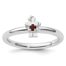 Sterling Silver Stackable Expressions Rhodium Garnet Girl Ring
