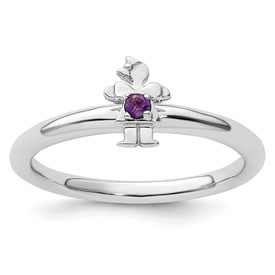 Sterling Silver Stackable Expressions Rhodium Amethyst Girl Ring