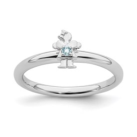 Sterling Silver Stackable Expressions Rhodium Aquamarine Girl Ring