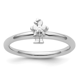 Sterling Silver Stackable Expressions Rhodium White Topaz Girl Ring