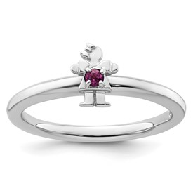 Sterling Silver Stackable Expressions Rhodium Rhodolite Garnet Girl Ring