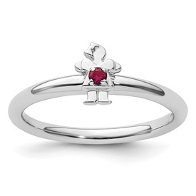 Sterling Silver Stackable Expressions Rhodium Cr. Ruby Girl Ring