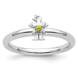 Sterling Silver Stackable Expressions Rhodium Peridot Girl Ring